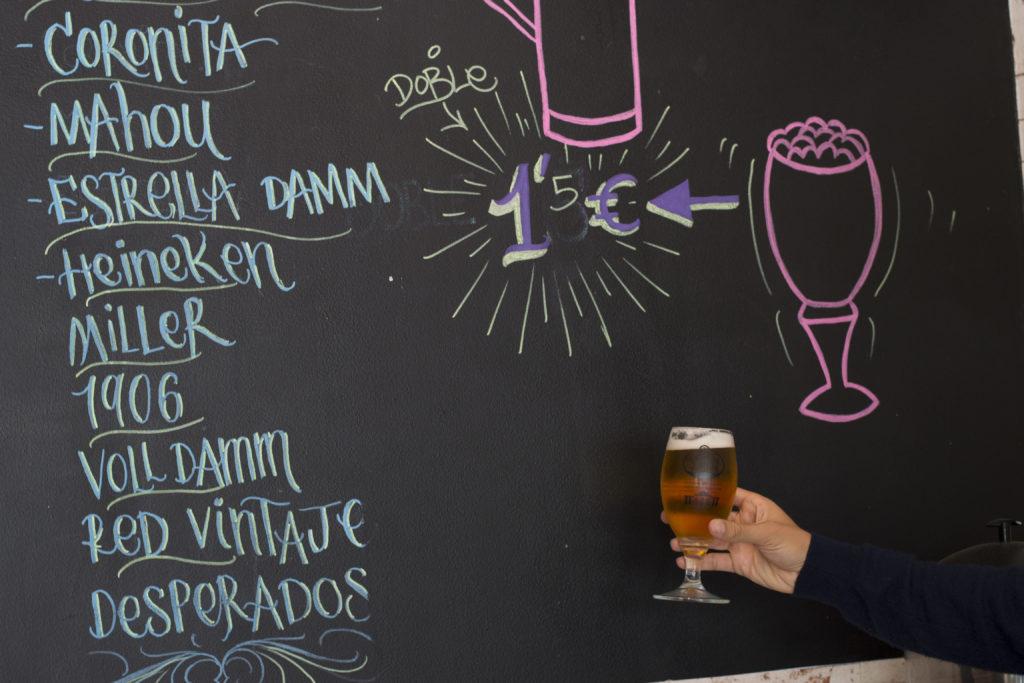 cerveza y tapa barata